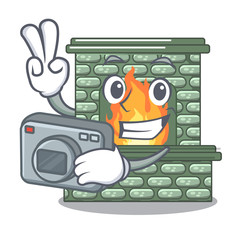 Photographer cartoon stone fireplace with the flame