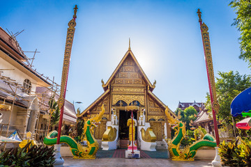 Fotobehang Temple Wat Phra Singh temple is a buddhist temple located in Chiang Rai, northern Thailand. Landmark of Chiang Rai, Translation text in the image