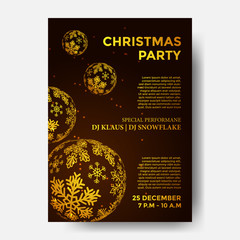 Poster Christmas Party with illustration of golden snowflake decoration