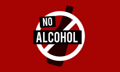 No Alcohol Sign with Bottle Vector Illustration