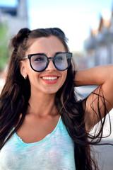 Girl, brunette, Smile, happiness, sunglasses, long hair, summer mood