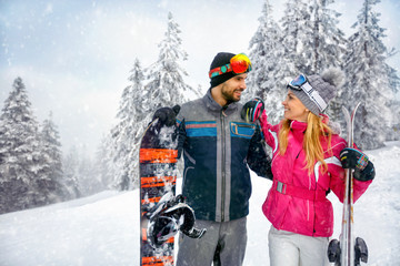 Smiling couple enjoy on winter vacation