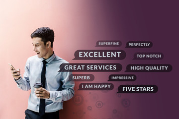 Customer Experience Concept. Happy Businessman using Smart Phone to Reading Positive Review or Feedback his Satisfaction Online Survey, Surrounded by Speech Bubble and Social Network icons