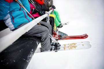 Close up of ski equipment on ski lift