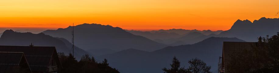 Beautiful sunrise at Feuerkogel summit - Ebensee - Salzburg - Austria