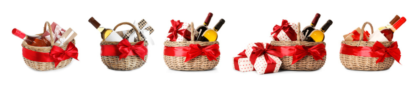 Set with gift baskets and wine on white background
