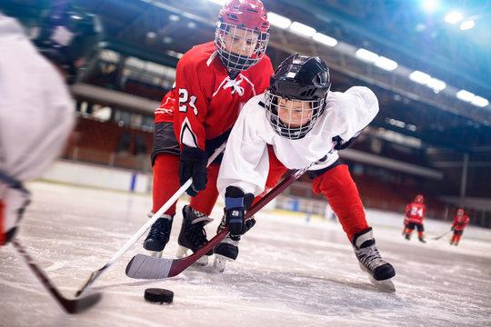 ice hockey sport kids players.
