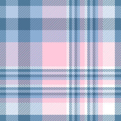 Plaid check pattern in pink and blue. Seamless fabric texture.