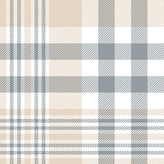 Plaid check pattern in tan beige, grey and white. Seamless fabric texture print.
