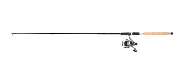 Modern fishing rod with reel on white background Wall mural