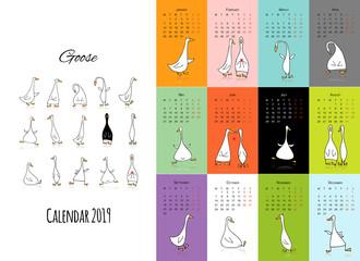 Funny goose, calendar 2019 design