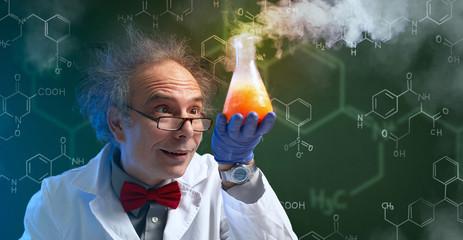 Fototapeta crazy chemist with cure obraz