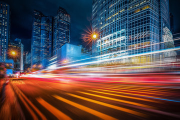 Motion speed lighting in the city