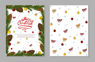 Christmas card with pine cones, christmas ball and bows.