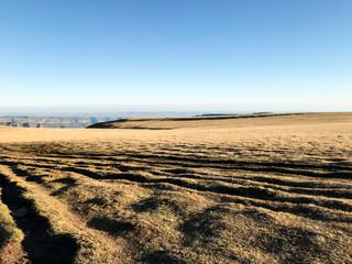 wheel tracks on Bermamyt mountain Plateau