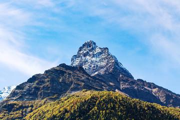 mountain peak over Dombay resort village