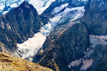 glacier in mountains near Dombay resort