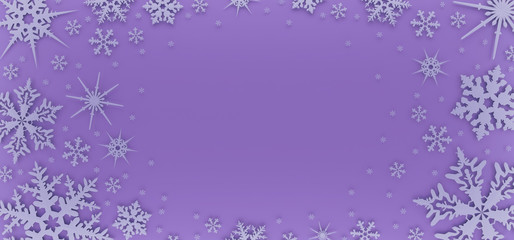 Christmas card decorated with white snowflakes. Pattern for Christmas greetings. 3D illustration
