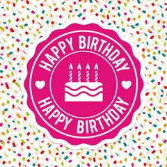 Happy Birthday Label Design and confetti background. Eps10 Vector.