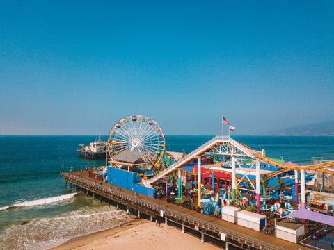 Aerial view of the Santa Monica Pier near Venice beach in Los Angeles, California.