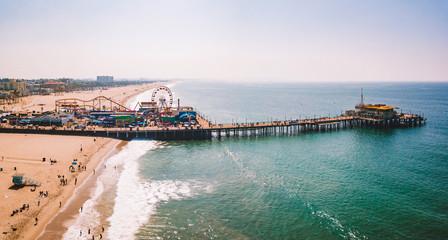 Aerial view of the Santa Monica Pier near Venice beach in Los Angeles, California. Wall mural