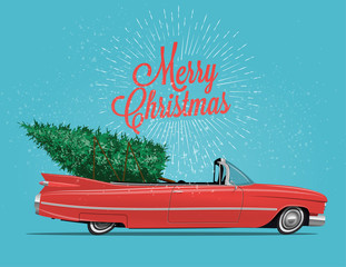 Cartoon styled side view vintage red cabriolet car with Christmas Tree on board. Vintage styled vector illustration for your poster, flyer or postcard or invitation for your event.