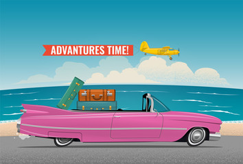 Keuken foto achterwand Cars Cartoon styled side view pink vintage car cabriolet with luggage on board, on the beach road. Travel themed vector illustration for your poster, or flyer or banner for your promotion.