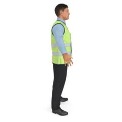 Port Engineer In High Visisbility Jacket Standing Pose 3D Illustration