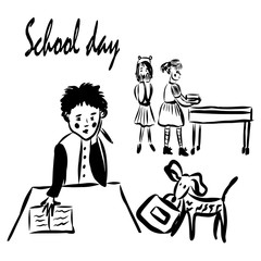 drawing a picture, a boy, two of his classmates, and a puppy with a briefcase in his teeth at a school break, a sketch, a hand-drawn digital comic illustration.