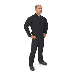 Worker Wearing Black Overalls Suit Standing Pose. 3D Illustration, isolated