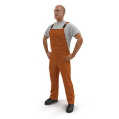 Worker Wearing Orange Overalls Suit Standing Pose. 3D Illustration, isolated
