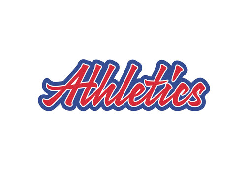 Athletics vector lettering. Handwritten text label. Freehand typography design