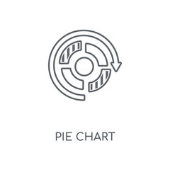Pie chart linear icon. Pie chart concept stroke symbol design. Thin graphic elements vector illustration, outline pattern on a white background, eps 10.