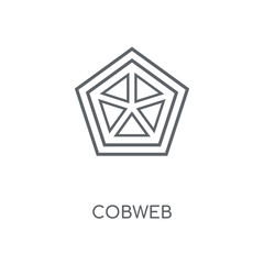 Cobweb linear icon. Cobweb concept stroke symbol design. Thin graphic elements vector illustration, outline pattern on a white background, eps 10.