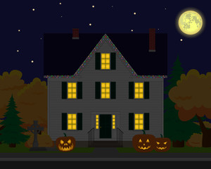 Vector family house. Holiday decorations. Happy halloween day.