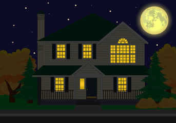 vector family house at night