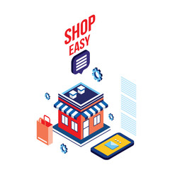 Flat 3d isometric design concept Shopping and e-commerce Vector illustration