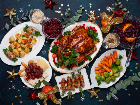Concept of Christmas or New Year dinner. Top view.