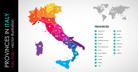 Vector map of Italy province rainbow colors