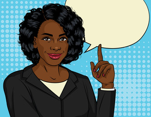 Vector color illustration of successful African American business woman. Happy beautiful lady in office suit shows thumb up. Lady boss points up. Design Banner for sales, discount, advertising