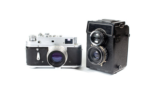 vintage film camera on a white background, vintage camera