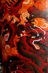 Traditional Chinese dragon painted in vibrant colors