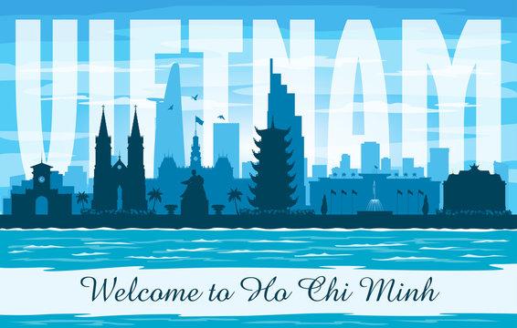 Ho Chi Minh Vietnam city skyline vector silhouette