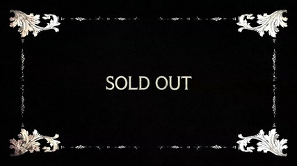 A re-created film frame from the silent movies era, showing an intertitle text message: Sold out.