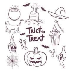 Set of Halloween elements hand drawn doodles vector illustration