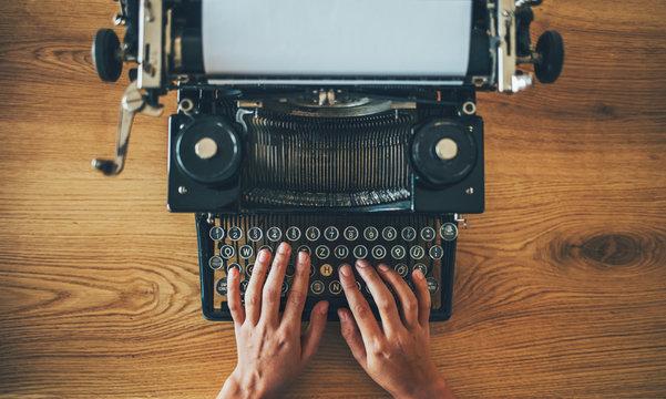 Typing on the vintage typewriter
