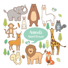 Cute animal set elements in hand drawn  cartoon vector