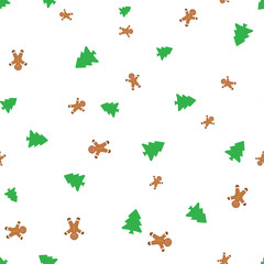 Biscuits in the form of little men and and christmas tree seamless pattern