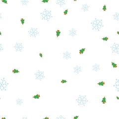 Green Christmas tree and snowflake seamless pattern