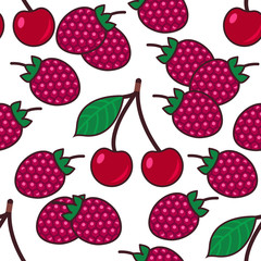 Seamless pattern background with berries, colorful illustration